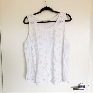 LOFT white crochet double lined tank top
